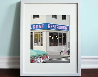 Monk's Cafe / Tom's Restaurant - Seinfeld, Jerry Seinfeld Art Print, TV sitcom