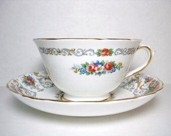 Vintage Tuscan Tea Cup and Saucer - Fine Bone China - Orleans Pattern - Made in England