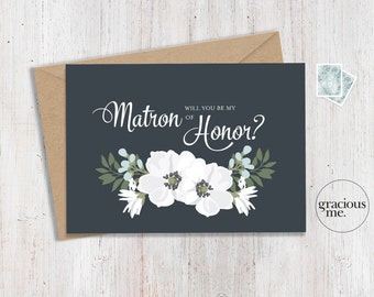 Matron of Honor Card 'Will You Be My Matron of Honor' - Wedding Card, Floral Card - Blue & Green