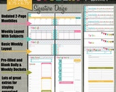 """Student Planner {Printable} Set - Sized X-Small Personal 3.75"""" x 6.75"""" PDF - Signature Design - Undated"""