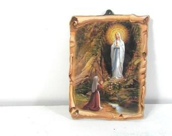 Lourdes souvenir wall plaque, French vintage, Virgin Mary & St Bernadette, Notre Dame de Lourdes, religious gifts, religious wall art.