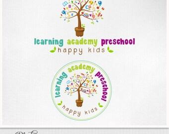 Preschool learning Logo -  Custom logo school reschool ,  kindergarten Logo, tree of knowledge logo
