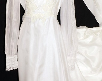 1970s Wedding Dress Sz 4 Hippie Vintage Retro