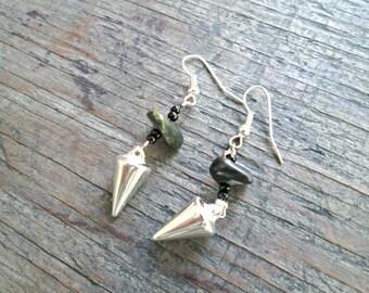 Silver Spike Earrings - Rocker Earrings - Spike Dangle Earrings - Boho Chic Jewelry - Spike Jewelry - Tribal Earrings - Bohemian Earrings