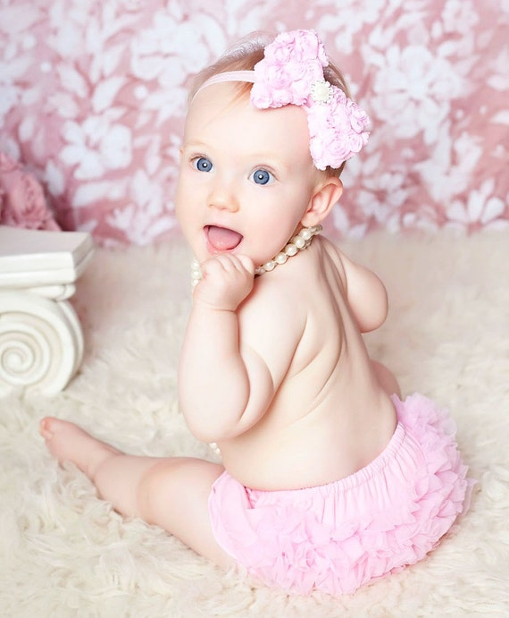 Trendy Baby Gifts : Items similar to pink rosette bow baby headband and