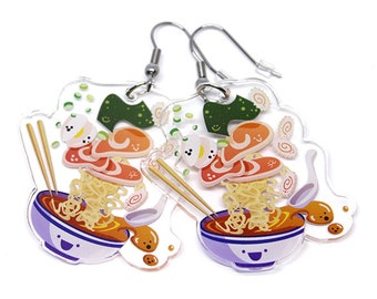 Cute Ramen Earrings, ramen, japan, kawaii food, kawaii ramen, cute anime, cute food, soup, japanese, iitadakimasu, oiishi