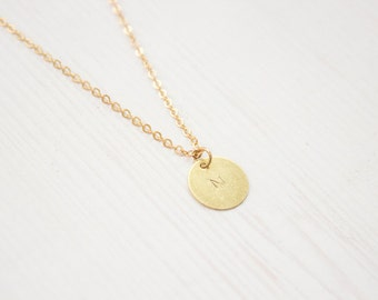 Dainty Initial Circle Brass Necklace