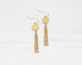 Minimal Hexagon Brass Fringe Tassel Earrings