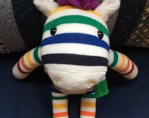 "Rainbow color Handmade Baby Zebra socks doll 13"" with stripe scarf n Purple hair for children"