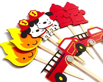 Fireman Cupcake Toppers Set of 12 / Firefighter Cupcake Toppers Fire Firetruck Cupcake Topper Dalmatian Cupcake Topper Fireman Baby Shower
