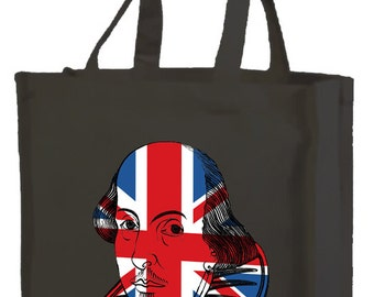 Best of British Shakespeare Cotton Shopping Bag with gusset and long handles, 3 colour options
