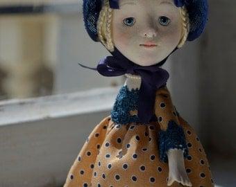 Margot, Art  Doll, Handmade Doll, OOAK Doll, Miniature Doll, Paper Mache Doll, Victorian