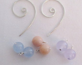 Spiral sterling silver ear wires with three pairs of gemstone drops