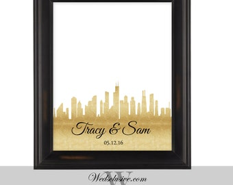 Guest Book Alternative, Chicago City Skyline, Personalized Guest Signing Poster,  Gold Weddings - DIGITAL PRINT- 16x20, 20x24, 24x36