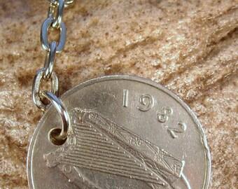 1982 Old Large 10p Ten Pence Deich bPingin Irish Coin Keyring Key Chain Fob 36th Birthday