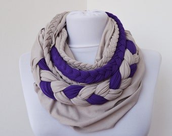 Gray & Purple - Infinity Jersey Scarf - Partially braided Circle Scarf - Scarf Nekclace
