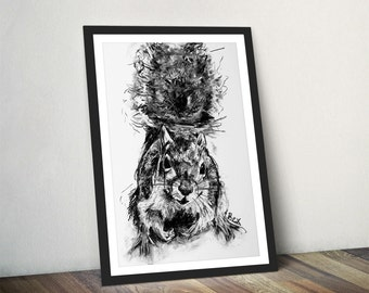 Squirrel Art Print Squirrel Wall Art Charcoal Illustration Squirrel Black and White Home Decor Squirrel Wall Hanging Animal Print