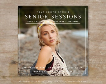 Senior Photography Marketing Template, 5x5 Senior Marketing Template, Senior Sessions Instagram template