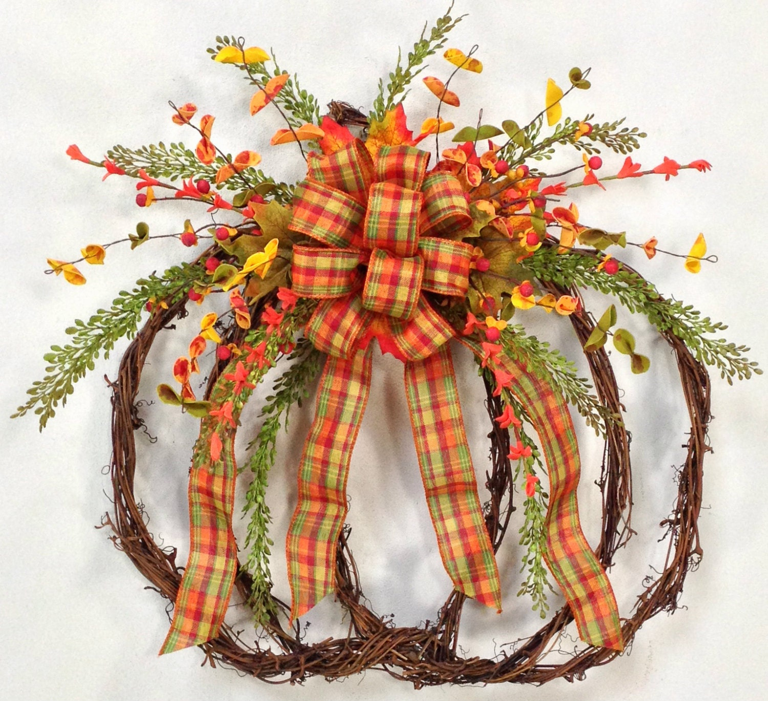 Pumpkin wreath fall wreath fall door d cor harvest wreath Fall autumn door wreaths