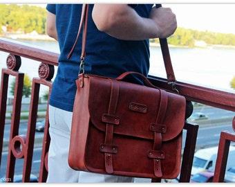 COGNAC BROWN Briefcase for Men - Work bag - Computer bag - Genuine full grain leather messenger bag - Free personalization