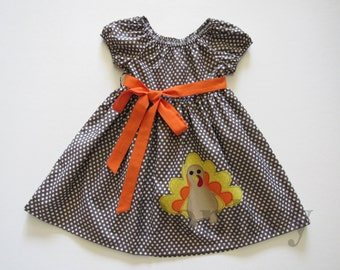 Girl's Fall Thanksgiving Turkey Peasant Dress. Made to Order Peasant Dress in Size 3-8