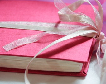 Small notebook sketchbook art journal - hand bound in silk with ribbon ties