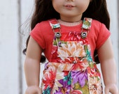 American Girl Doll Clothes - AG Doll - Overalls - Shortalls - Floral