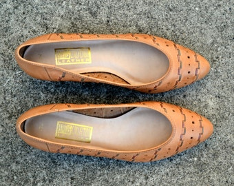 Vintage Woven Leather Low Heel Shoes - Size 10