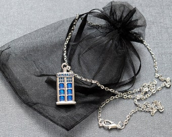 Doctor Who TARDIS necklace – silver tone and enamel pendant – BBC Dr Who cosplay prop – jewelry / jewellery