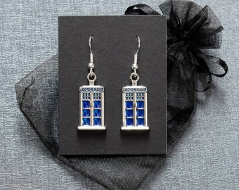 Doctor Who TARDIS earrings – BBC Dr Who fandom cosplay accessory – Time Lord jewelry / jewellery