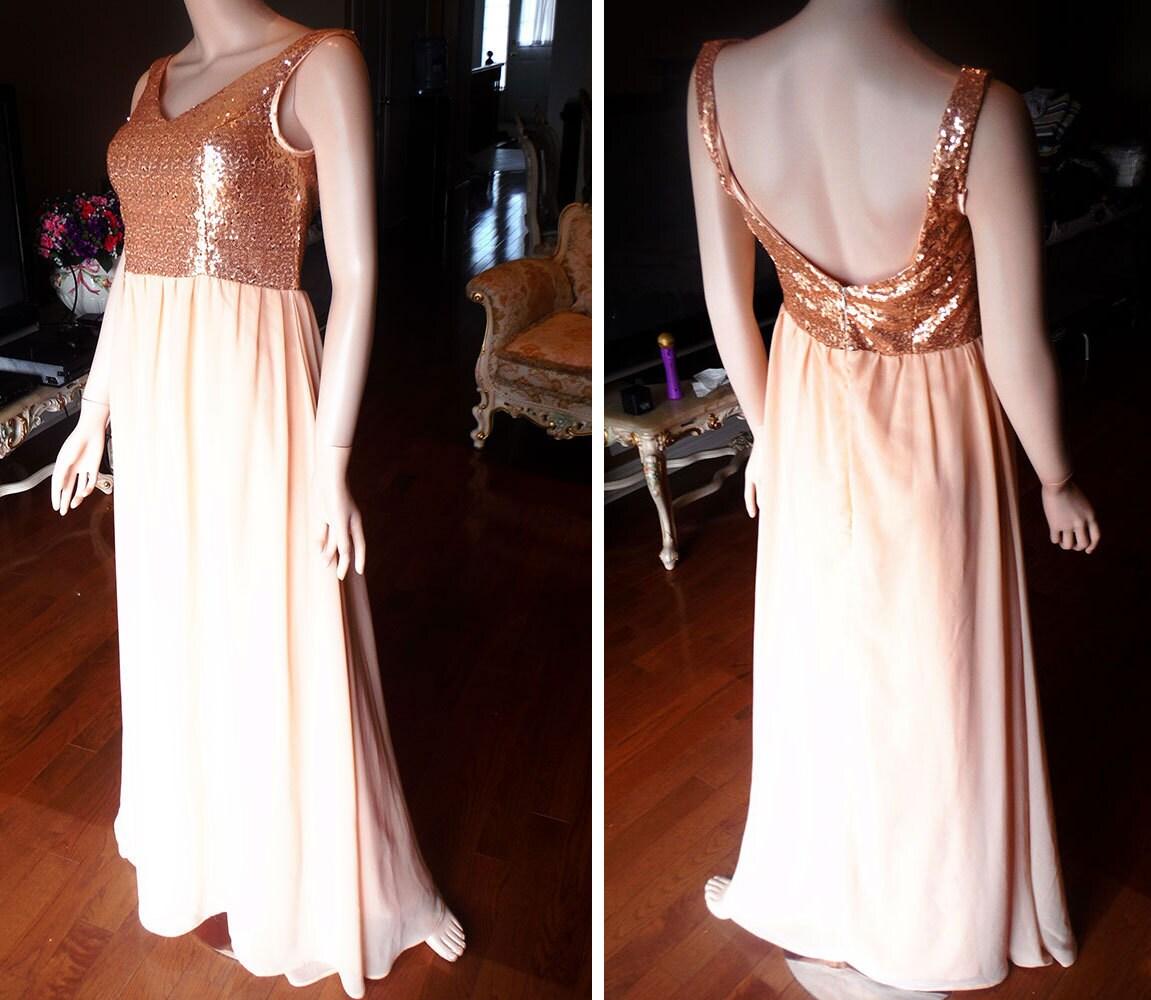 Blush bridesmaid dress rose gold sequin bridesmaid dress for Metallic bridesmaid dresses wedding