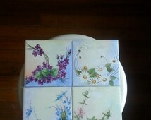 flowery tiles hand painted vintage cottage rustic charm