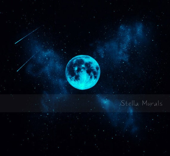 Star mural with glow in the dark moon self adhesive wall or for Blue moon mural
