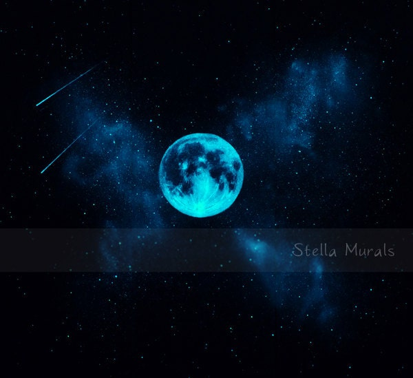 Star Mural With Glow In The Dark Moon Self Adhesive Wall Or