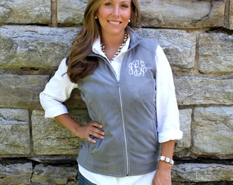 Monogrammed Fleece Vest | Multiple Colors