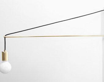 Modern Brass Swing Arm Sconce - Two Three or Four Foot Swingarm Light - Jib Sconce