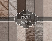 "Kraft digital paper: ""KRAFT PAPER"" kraft textured papers in neutral colours for scrapbooking, invitations, cards, photo backgrounds"