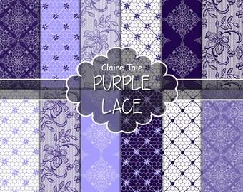 """Lace digital paper: """"PURPLE LACE"""" with purple lavender lace background / lace texture / lace sheet / purple wedding lace background"""