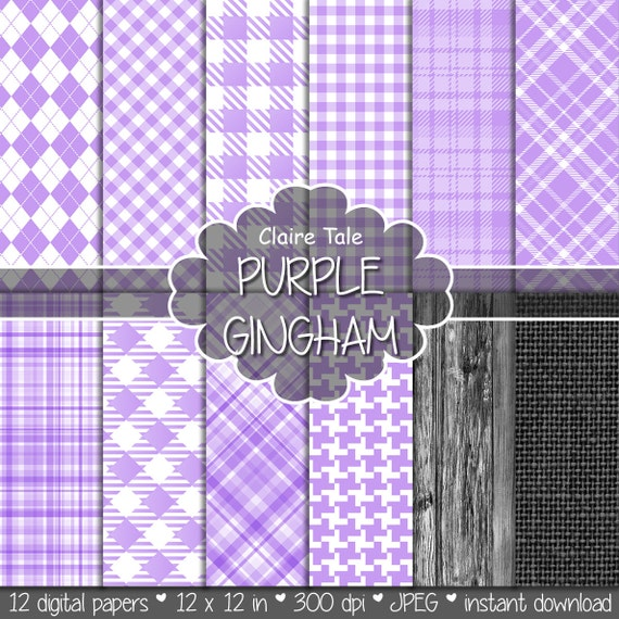 Purple gingham digital paper, Purple printable tartan pattern, Purple digital rhombus, Purple invitation paper, Purple scrapbooking paper