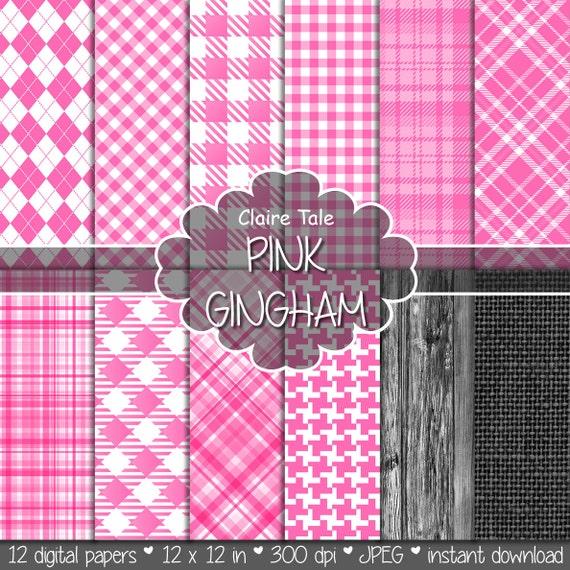 Pink gingham digital paper, Pink gingham pattern, Pink tartan digital, Pink gingham baby shower printable paper, Pink gingham scrapbooking