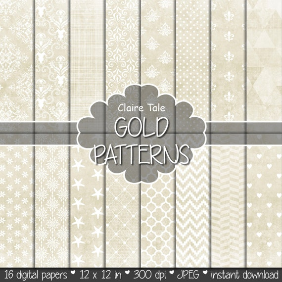 "Gold digital paper: ""GOLD TEXTURES"" with gold damask, crosshatch, quatrefoil, flowers, lace, polka dots, hearts, triangles, stripes patterns"