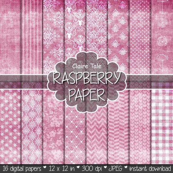 "Shabby chic digital paper: ""RASPBERRY SHABBY CHIC"" with raspberry damask, crosshatch, flowers, lace, polka dots, stripes, hearts, gingham"
