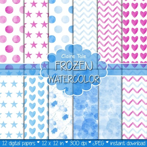 "Watercolor / watercolour digital paper: ""FROZEN WATERCOLOR"" with watercolor polkadots, stars, hearts, splash, chevron in pink and blue"