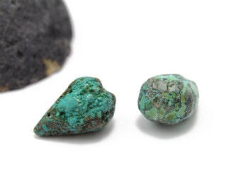 Turquoise Briolettes Extra Large Teardrop Briolettes Genuine Turquoise 15x23mm 2pcs