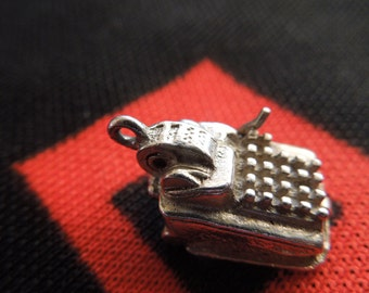 Sterling Opening Adding Machine Charm With Math Symbols Inside Vintage Sterling Silver Charm for Bracelet from Charmhuntress 02069