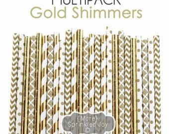 GOLD Paper Straws, Gold Foil, Gold, Damask, Wedding, Shimmers, Stripe, Damask, Dots, Bridal Shower, Birthday, Bulk, Girl, Baby Shower, Party