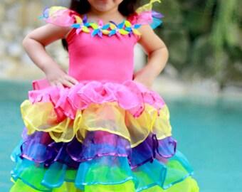 Rainbow Fairy Dress, Colorful Fairy costume, Dance costume, Girl's Dress, Birthday Dress