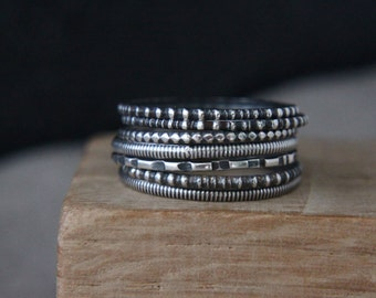 Sterling silver stacking rings. Rustic rings.Stackable rings.Hand made rings.Organic, Eco jewellery.