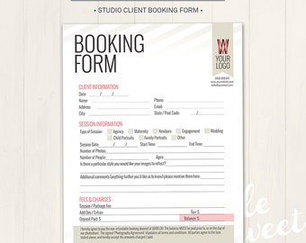 Photography Studio / Client Booking Form - Photoshop Template for photographers (BF01) - INSTANT DOWNLOAD
