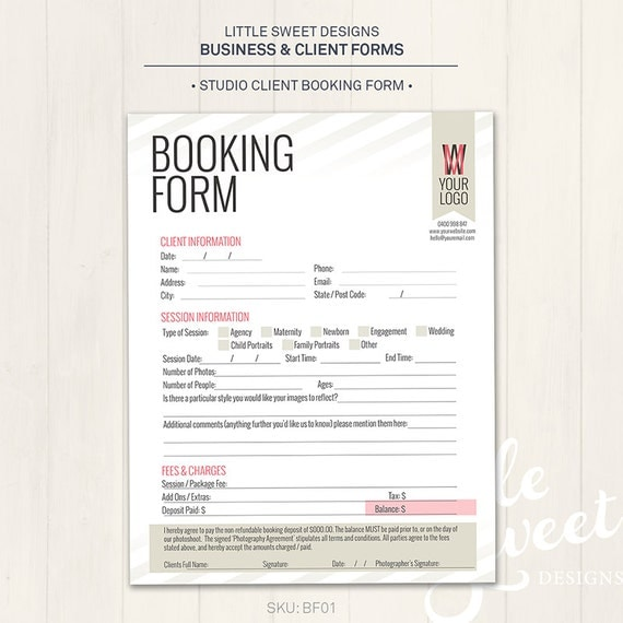 Photography Studio Client Booking Form Photoshop Template – Client Information Form Template